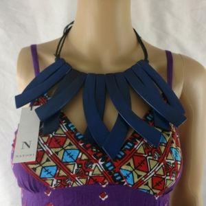 Josie Natori statement wooden tie string necklace